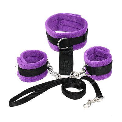 Hals-Handgelenk-Fesseln violett-schwarz Softbondage