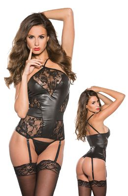 Allure Lingerie KITTEN Lace & Wet Look Corset II O/S