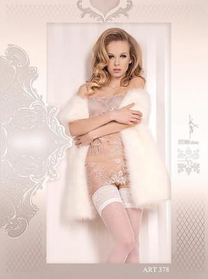 Halterlose Strümpfe weiß-silber 20 DEN Aynur
