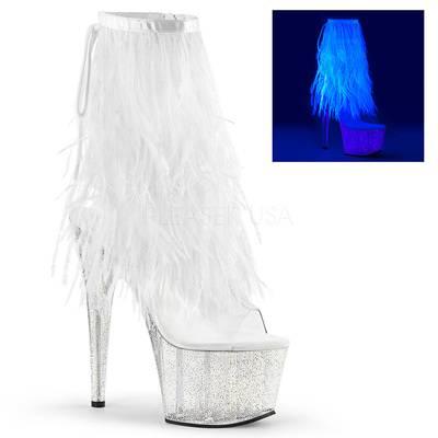 Marabou Schnürstiefelette mit Glitterplateau ADORE-1017MFF weiß