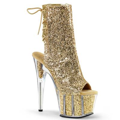 Plateau Schnürstiefelette mit Glitter ADORE-1018G gold