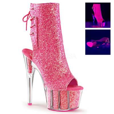 Plateau Schnürstiefelette mit Glitter ADORE-1018G pink