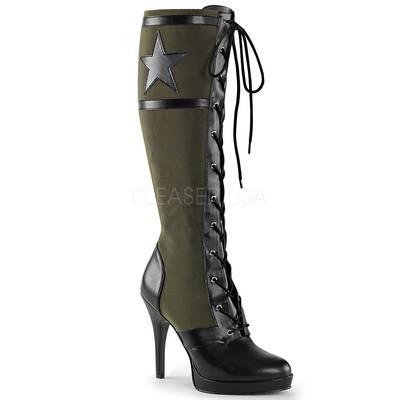 Kniehoer Army Stiefel mit Schnürung zweifarbig