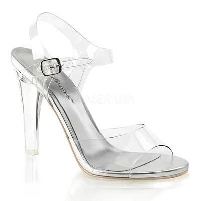 Sandalette mit Knöchelriemen CLEARLY-408 transparent / silber