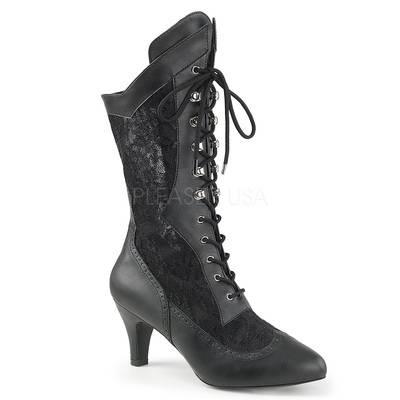 Viktorianische Stiefelette mit Spitze schwarz