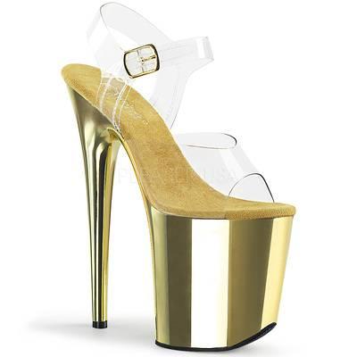 High Heel Sandaletten FLAMINGO-808 Chrome Optik gold