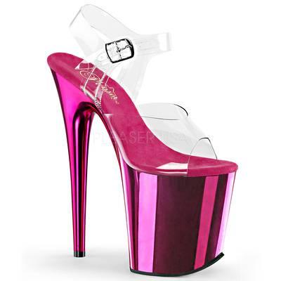 High Heel Sandaletten FLAMINGO-808 Chrome Optik hot pink