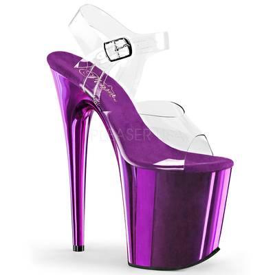 High Heel Sandaletten FLAMINGO-808 Chrome Optik violett