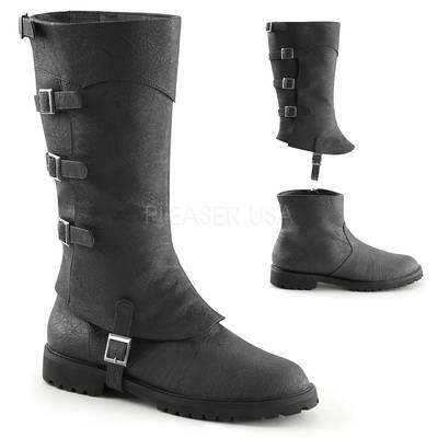 Kniehoher Stiefel mit Schnallenriemen GOTHAM-105 schwarz