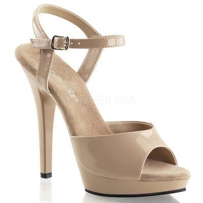 Sandaletten High Heels mit Knöchelriemen und Miniplateau LIP-109