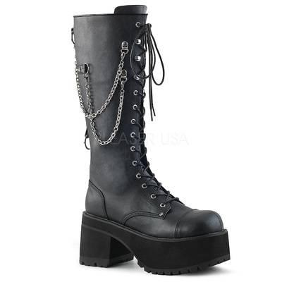 Kniehoher Stiefel mit Metallreißverschluss RANGER-303 schwarz