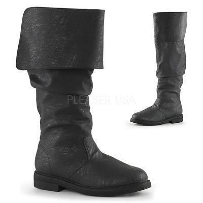 Renaissance-Stiefel mit flachem Absatz ROBINHOOD-100 schwarz