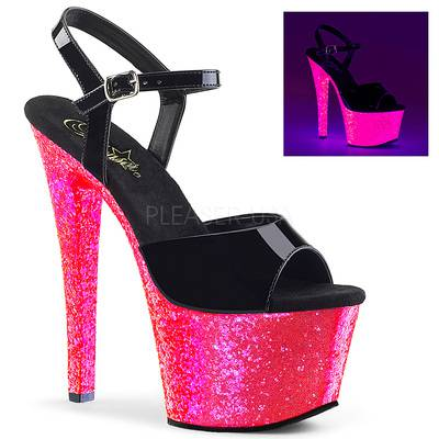 Plateau Sandalette SKY-309UVLG Lack schwarz / neon pink