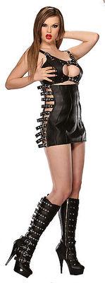 Schwarzer Lederrock mit seitlichen Schnallen Ledapol LE5484