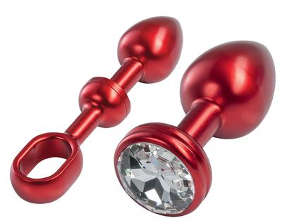 Alu-Plug mit Stoßgriff & Schmuckstein klein, rot/weiß