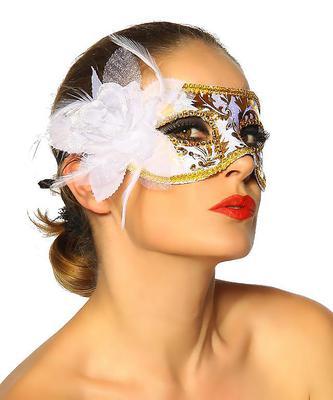Maske weiß gold