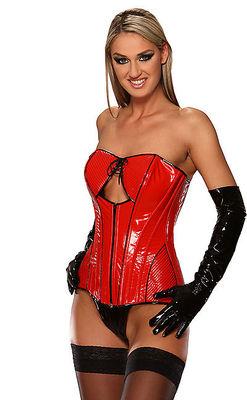 Rot-schwarze Lack Corsage stylisch Ledapol LE1718