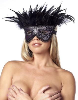 Luxus-Maske mit Federn schwarz-lila