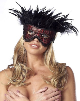 Maske mit Federn rot-schwarz