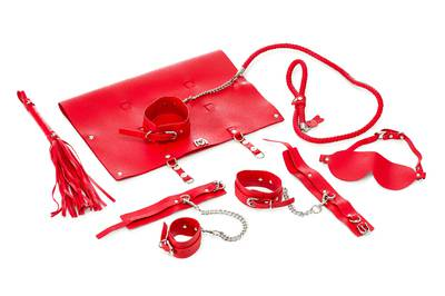 9-piece PU Leather Bondage Set - Red