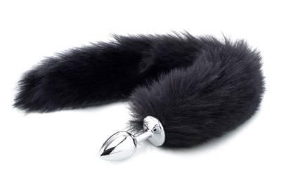Deluxe Fluffy Fox Plug - Black