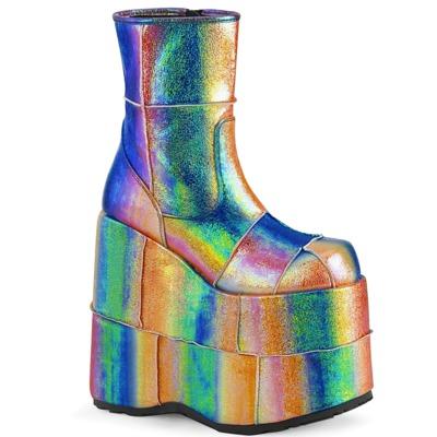 Holographische Plateaustiefel mit Reißverschluss STACK-201 rainbow