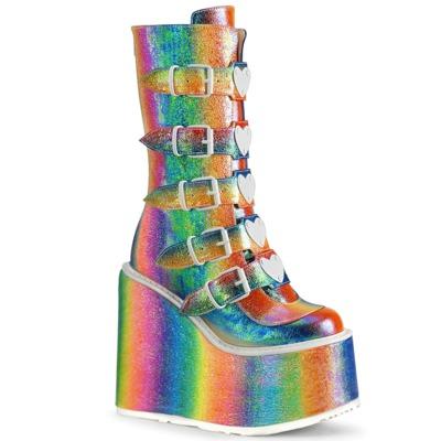 Steampunk Plateau-Stiefel mit 5 Schnallenriemen SWING-230 rainbow