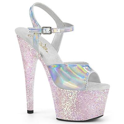 Holographische Plateau High Heels mit Glitter ADORE-709HGG opal / silber