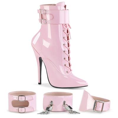 Stiefelette mit austauschbaren Fußfesseln DOMINA-1023 pink