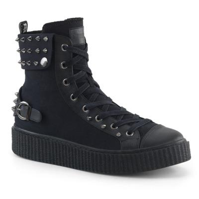 Unisex Sneaker mit Nietenverzierung und Schnürung SNEEKER-266 schwarz