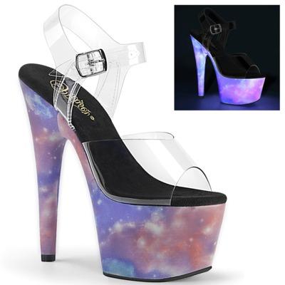 UV-Licht Plateau High Heels ADORE-708REFL klar / purple