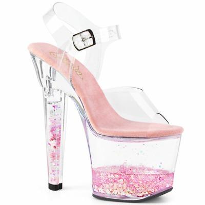 Sandalette mit Glitzerherzen im Plateau LOVESICK-708GH klar / pink