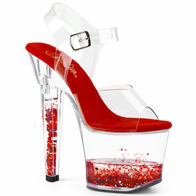 Sandalette mit Glitzerherzen im Plateau LOVESICK-708GH klar / rot