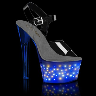 Plateau LED Ankle Strap Sandale ECHOLITE-708 klar / blau