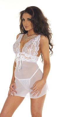 Mini-Kleid & G-String weiß
