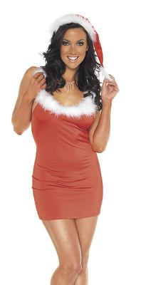 Weihnachtskleid mit Hut rot/weiß
