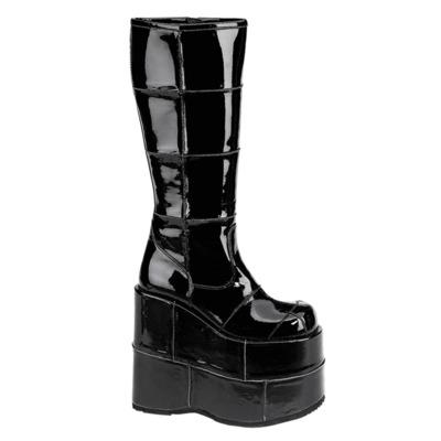 Kniehoher Gothic Stiefel mit Plateau STACK-301 Lack schwarz
