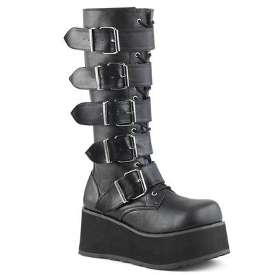 Plateau Goth Punk Kniestiefel TRASHVILLE-518 schwarz
