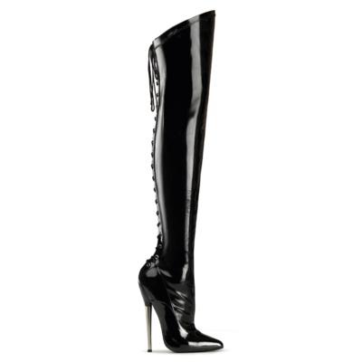 Oberschnkelhoher Lack Stiefel schwarz