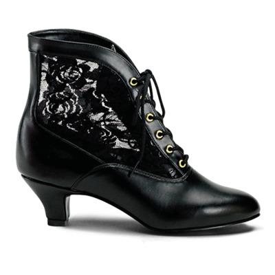 Flache Viktorianische Stiefelette mit Spitzeneinsatz schwarz