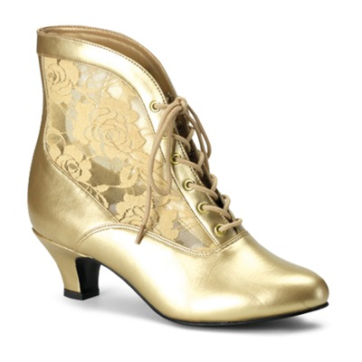 Flache Stiefelette mit Spitze gold