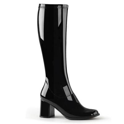 Kniehoher Stiefel mit Blockabsatz GOGO-300 Lack schwarz