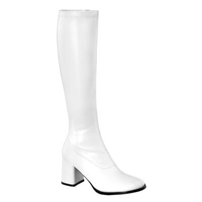 Kniehoher Stiefel mit Blockabsatz GOGO-300 weiß