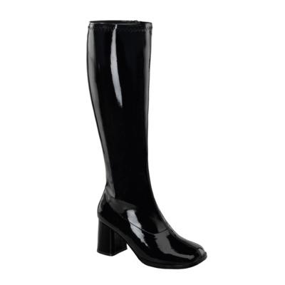 Kniehohe Stiefel mit Blockabsatz GOGO-300WC Lack schwarz