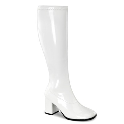Kniehohe Stiefel mit Blockabsatz GOGO-300WC Lack weiß
