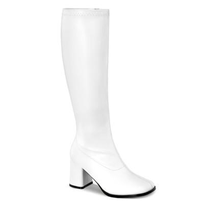 Kniehohe Stiefel mit Blockabsatz GOGO-300WC weiß
