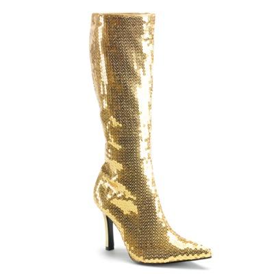 High Heel Kniestiefel mit Pailetten gold
