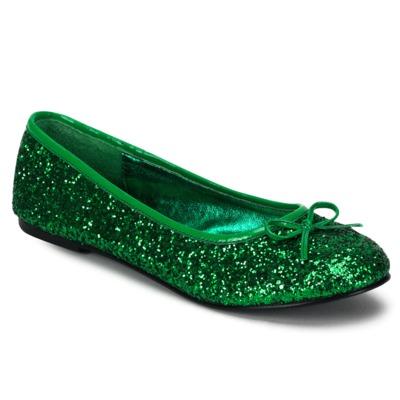 Ballerinas mit Glitter STAR-16G grün