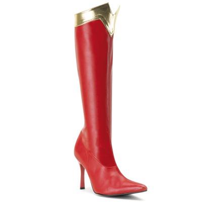 Kniehoher High Heel Stiefel rot gold aus Kunstleder