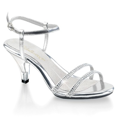 Knöchelriemen Sandalette mit Strasssteinen BELLE-316 weiß